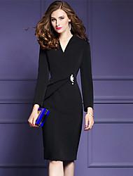 Gaine Robe Femme Sortie Grandes Tailles Chic de Rue Sophistiqué,Couleur Pleine Col en V Mi-long Manches Longues Polyester AutomneTaille