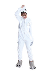 Kigurumi Pajamas Large White Leotard/Onesie Shoes Festival/Holiday Animal Sleepwear Halloween White Fashion Solid Color Embroidered Flannel With Shoes