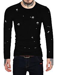 Для мужчин На каждый день Офис Винтаж Простое Обычный Пуловер С принтом,Круглый вырез Длинный рукав Шерсть Искусственный мех Хлопок Осень
