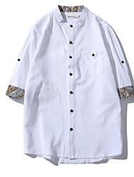 Camicia Da uomo Casual Semplice Con stampe Colletto italiano visibile Lino Manica corta