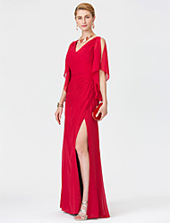 Sheath / Column V-neck Floor Length Chiffon Mother of the Bride Dress with Split Front Criss Cross by LAN TING BRIDE®
