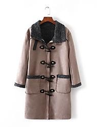 Для женщин На каждый день Зима Пальто Рубашечный воротник,Простой Однотонный Длинная Длинный рукав,Шерсть Хлопок Мех осла