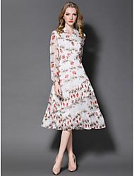 Gaine Robe Femme Sortie Mignon,Imprimé Col en V Midi Manches Longues Polyester Eté Taille Normale Micro-élastique Moyen