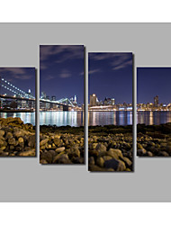 New Arrivals Home Wall Art HD Printed 4 Panels With Framed City Bridge Night Scene Posters Rivers Landscape Painting Printed on Canvas