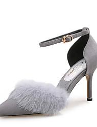 Для женщин Обувь на каблуках Удобная обувь Кожа / мех Замша Весна Осень Свадьба Для праздника Для вечеринки / ужина На шпилькеЧерный
