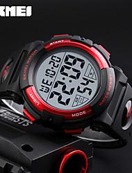 SKMEI Муж. Спортивные часы электронные часы Японский Цифровой Календарь Секундомер Защита от влаги Фосфоресцирующий PU ГруппаЧерный