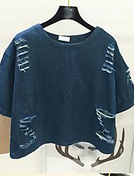 Tee-shirt Femme,Couleur Pleine Décontracté / Quotidien simple Manches 3/4 Col Arrondi Coton