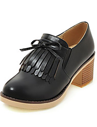 Femme Chaussures à Talons Confort Nouveauté Chaussures de plongée Similicuir Automne Mariage Décontracté Frange(s) Gros TalonBlanc Noir