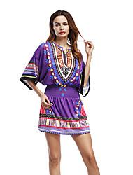 Tunique Robe Femme Décontracté / Quotidien Imprimé Col en V Mini Demi Manches Polyester Eté Taille Normale Micro-élastique Moyen