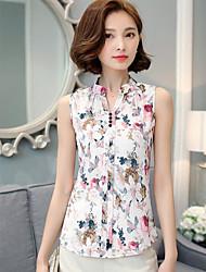Damen Druck Einfach Lässig/Alltäglich T-shirt,Ständer Sommer Ärmellos Baumwolle