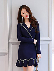 Women's Casual/Daily Simple A Line Dress,Solid Shirt Collar Above Knee Long Sleeves Cotton Fall High Rise Micro-elastic Medium