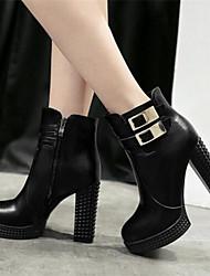 Women's Boots Comfort PU Winter Casual Comfort Black 4in-4 3/4in