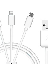 PISEN S13 USB 2.0 Connect Cable USB 2.0 to USB 2.0 Type C Micro USB 2.0 Lightning Connect Cable Male - Male 1.0m(3Ft)