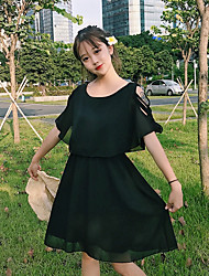 Women's Casual/Daily A Line Dress,Solid Round Neck Knee-length Half Sleeves Polyester Summer Mid Rise Micro-elastic Sheer