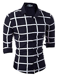 Men's Business Fashion Casual lattice Long-Sleeved Shirt