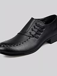 Masculino sapatos Couro Ecológico Primavera Verão Conforto Sapatos formais Oxfords Cadarço Para Festas & Noite Preto