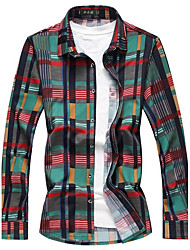 Men's Plus Size Going out Casual/Daily Work Street chic Spring Fall ShirtPlaid Shirt Collar Long Sleeves Cotton Acrylic Medium 916743