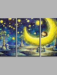 Pintados à mão Desenho Animado Artistíco Anime Activo Desenho Legal Natal Ano Novo 3 Painéis Tela Pintura a Óleo For Decoração para casa