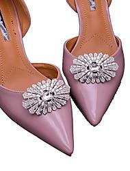 Silver Vintage Flower Shape Crystal Detachable Decorative Accents Plastic Shoe Clip Anywhere Shoe Accessories Ornaments 1 Pair