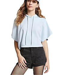 Women's Casual/Daily Simple Summer T-shirt,Solid Hooded Short Sleeves Cotton Thin