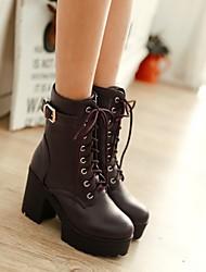 Damen Schuhe PU Winter Modische Stiefel Stiefel Blockabsatz Booties / Stiefeletten Mit Für Normal Weiß Schwarz Braun
