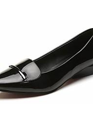 Damen Flache Schuhe Komfort PU Frühling Sommer Normal Klett Niedriger Absatz Schwarz Rot Unter 2,5 cm
