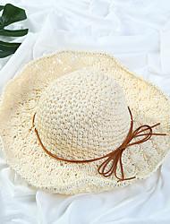 Для женщин Простой На каждый день Мода Соломенная шляпа Шляпа от солнца,Все сезоны Солома Однотонный Чистый цвет Бант