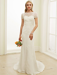 Mermaid / Trumpet Illusion Neckline Floor Length Lace Tulle Wedding Dress with Lace Draped by LAN TING BRIDE®