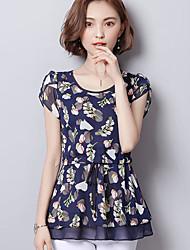 Mujer Simple Casual/Diario Blusa,Escote en Pico Floral Manga Corta Poliéster