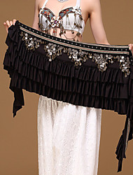 Belly Dance Hip Scarves Women's Performance Polyester Metal Chain Paillettes 1 Piece Hip Scarf