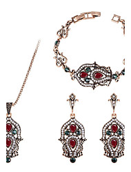 Mulheres Bracelete Brincos Compridos Colares com Pendentes Diamante Vintage Jóias de Luxo Bijuterias Destaque Chrismas Clássico Esmeralda