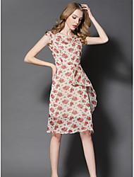 Balançoire Robe Femme Sortie Mignon,Imprimé Col en V Mi-long Manches Courtes Polyester Eté Taille Normale Micro-élastique Moyen