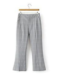 Mujer Chic de Calle Tiro Medio Microelástico Chinos Pantalones,Ajustado a la Bota Pantalones Harén Un Color A Cuadros