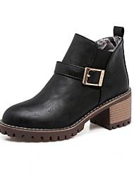 Women's Heels Comfort Novelty Bootie Spring Winter Leatherette Casual Office & Career Bowknot Low Heel Ruby Beige Black 1in-1 3/4in