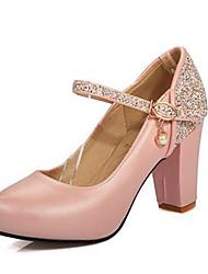 Для женщин Обувь Нубук Полиуретан Весна Удобная обувь Обувь на каблуках С Назначение Повседневные Белый Синий Светло-Розовый