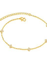 Mulheres Tornezeleira/Pulseiras Zircão Chapeado Dourado Moda Jóias de Luxo Formato de Linha Trevo de Quatro Folhas Jóias Para Casamento