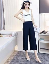 Damen Solide Einfach Lässig/Alltäglich T-Shirt-Ärmel Hose Anzüge,Rundhalsausschnitt Sommer Ärmellos Dehnbar