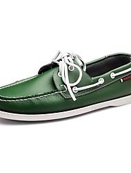 Men's Boat Shoes Amir's Comfort Leather Casual Walking  Low Heel Green