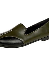 Women's Flats Comfort PU Summer Casual Ruffles Flat Heel Army Green Black Flat