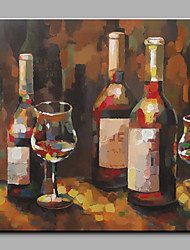 Hand-Painted Abstract Still Life Red Wine One Panel Canvas Oil Painting For Home Decoration
