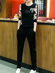 Sweat à capuche Pantalon Costumes Femme,Citations & Dictons Sortie simple Automne Manches longues Col Arrondi