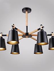 6 головок старинный деревянный арт-деко металлические люстры креативная гостиная столовая кабинет / кабинет