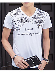 T-shirt Da uomo Casual Semplice Con stampe A V Cotone Manica corta