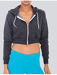 Women's Casual/Daily Simple Sweatshirt Solid Hooded Stretchy Cotton Long Sleeve Fall