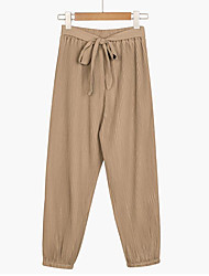 Women's OL Chiffon High Waist Harem Pants Bow Tie Drawstring Sweet Elastic Waist Pockets Casual Trousers Pantalones