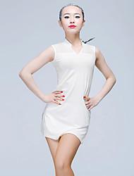 Danse latine Hauts Femme Entraînement Soie Glacée 1 Pièce Sans manche Taille moyenne Hauts