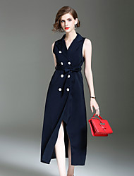 ALLA ONER Women's Going out Casual/Daily Simple Sheath DressSolid Shirt Collar Midi Sleeveless Polyester Fall Winter Mid Rise InelasticOpaque