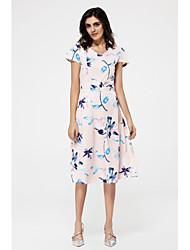 Damen A-Linie Kleid-Ausgehen Street Schick Druck V-Ausschnitt Midi Kurzarm Rosa Baumwolle Polyester Sommer Hohe Hüfthöhe Mikro-elastisch