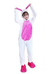 Kigurumi Pajamas Rabbit/Bunny Leotard/Onesie Shoes Festival/Holiday Animal Sleepwear Halloween Animal Embroidered Flannel FabricCosplay With Shoes