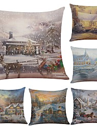 Set of 6 Warm Christmas Snow View Linen Cushion Cover Home Office Sofa Square Pillow Case Decorative Cushion Covers Pillowcases (18*18Inch)
